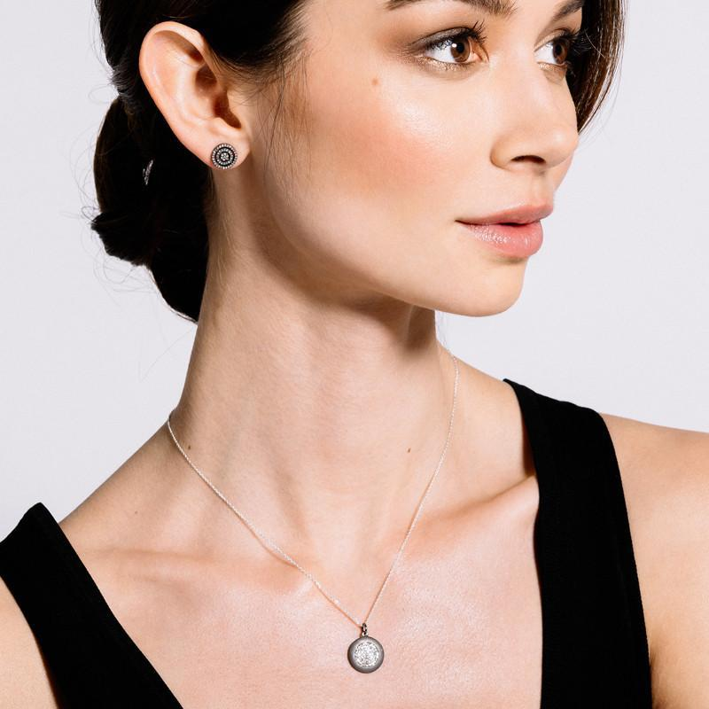 Brooklyn Large Oxidized Disc w/ Inner Diamond Disc Necklace-Necklace-Ashley Schenkein Jewelry Design