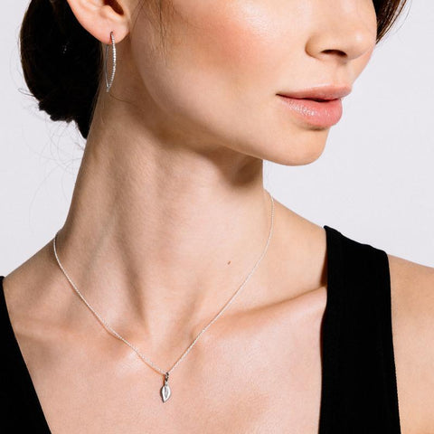 Brooklyn Diamond Small Leaf Necklace