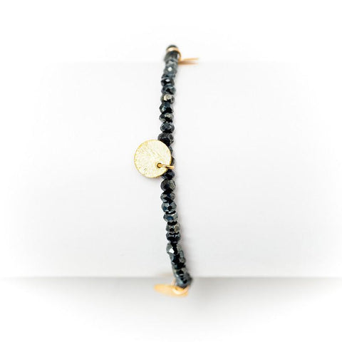 Kyoto Matte Black Onyx and White Topaz Slices Bracelet