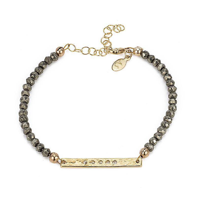 Paris CZ Hammered Bar and Gemstone Bracelet