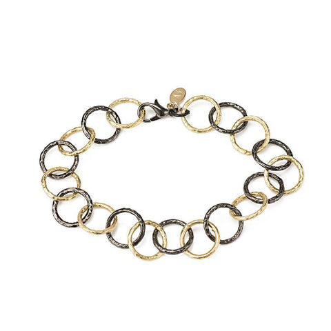 Telluride hammered two tone bracelet