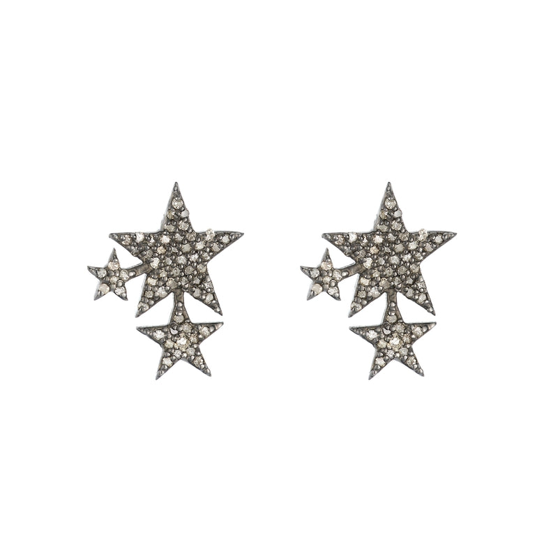 Brooklyn Diamond Pavé Triple Star Studs
