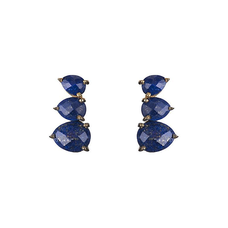 Lapis Lazuli ear climber that runs up the side of your ear.
