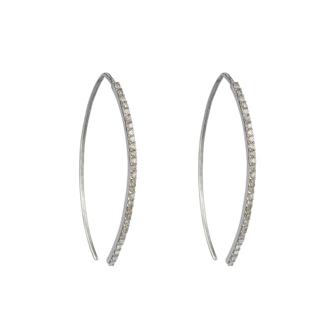 Brooklyn Diamond Rhodium Ear Climbers Lightning Bolt