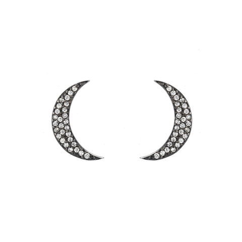 Kyoto Crescent Moon Pavé Stud Earrings