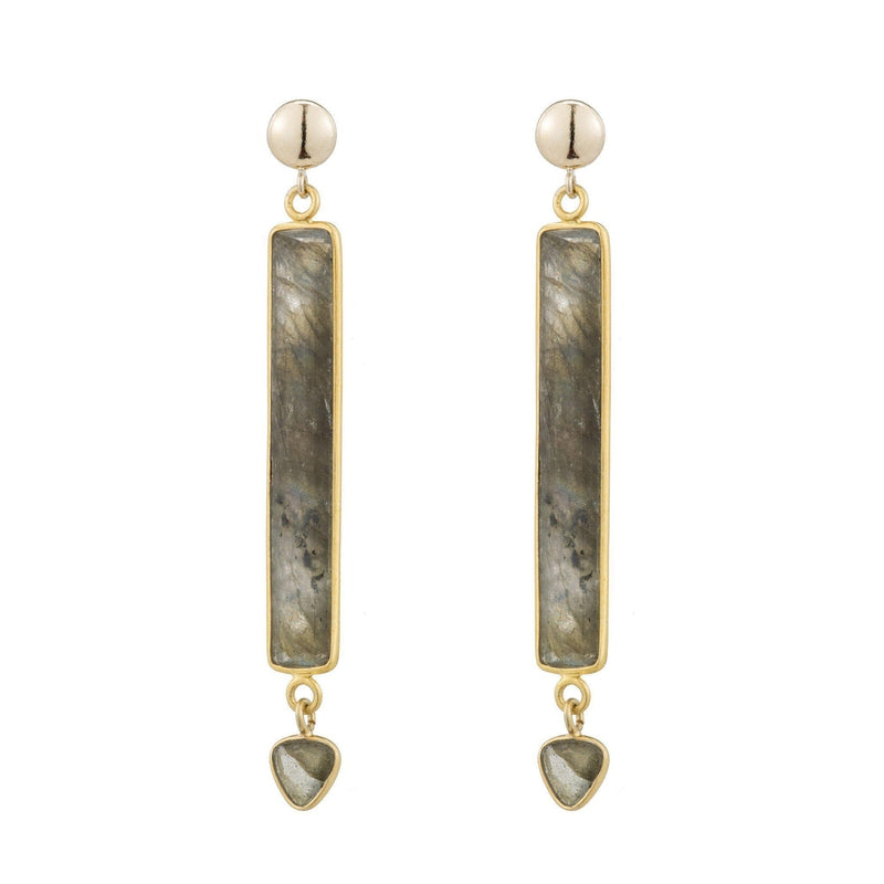 Havana Labradorite Bar Earrings