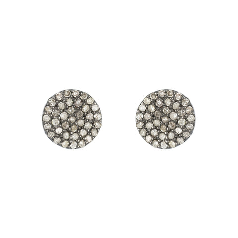 Brooklyn Diamond Pavé Mini Curved Disc Earrings