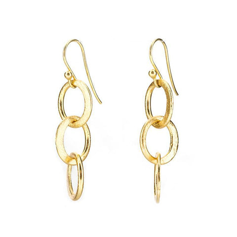 Barcelona Citrine and Brushed Gold Hoop Earring