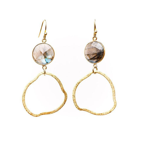 Barcelona Organic Circle and Bezel Gemstone Earrings