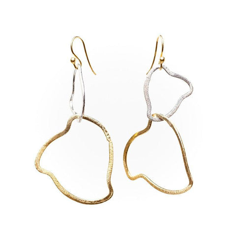 Boulder Brushed Oval Drop Earrings