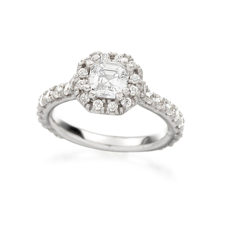 Asscher Halo Engagement Ring Setting-Engagement Ring-Ashley Schenkein Jewelry Design
