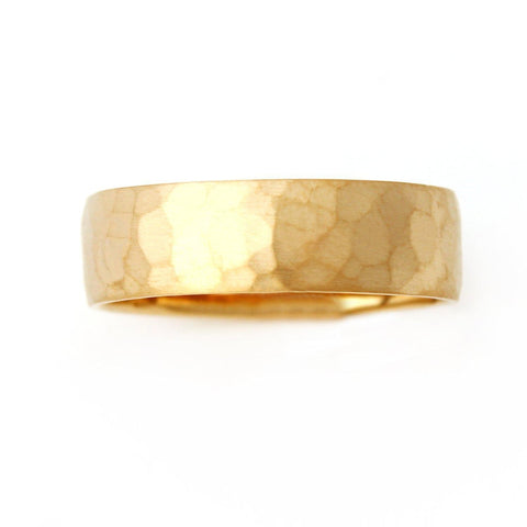 Men's Hammered Two Tone Yellow Gold Wedding Band