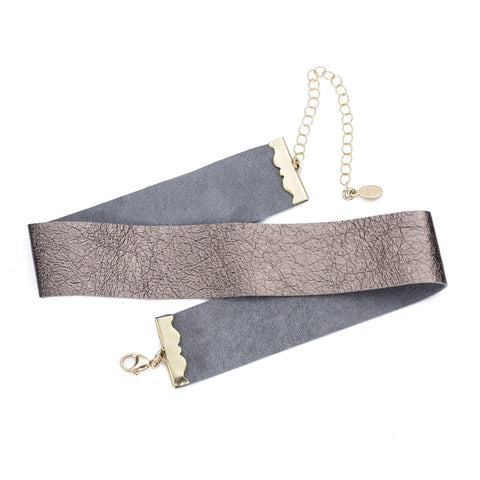 Tulum Metallic Leather Choker