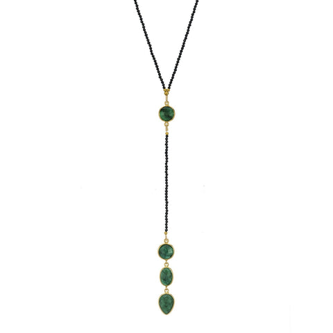 Kyoto Emeraldand Black Garnet Y Necklace