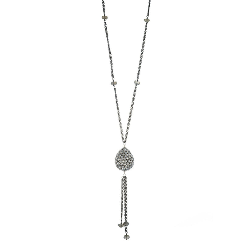 Kyoto White Topaz Slice Pendant Necklace