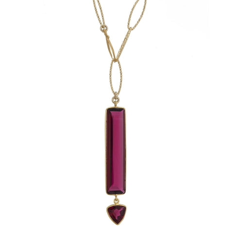 Havana Pink Quartz Lariat Necklace
