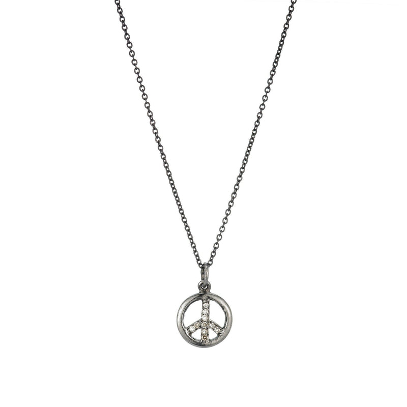 Brooklyn Diamond Peace Sign Necklace-Necklace-Ashley Schenkein Jewelry Design