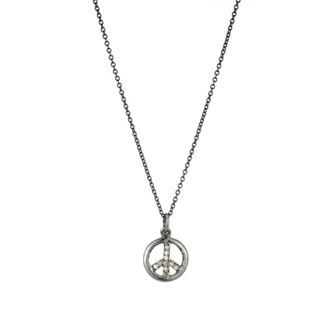 Brooklyn Diamond Peace Sign Necklace