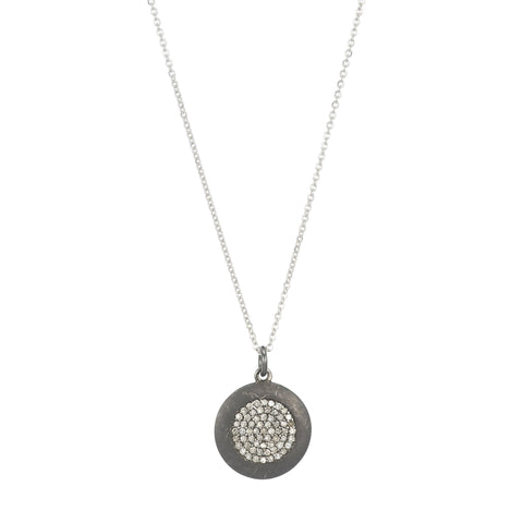 Brooklyn Large Oxidized Disc w/ Inner Diamond Disc Necklace