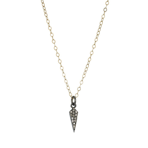 Diamond Pavé Mini Starburst Necklace, 14k