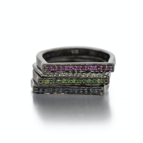 Havana Rhodium Bar Ring