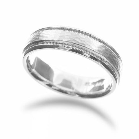 Men's Hammered and Milgrain Wedding Band