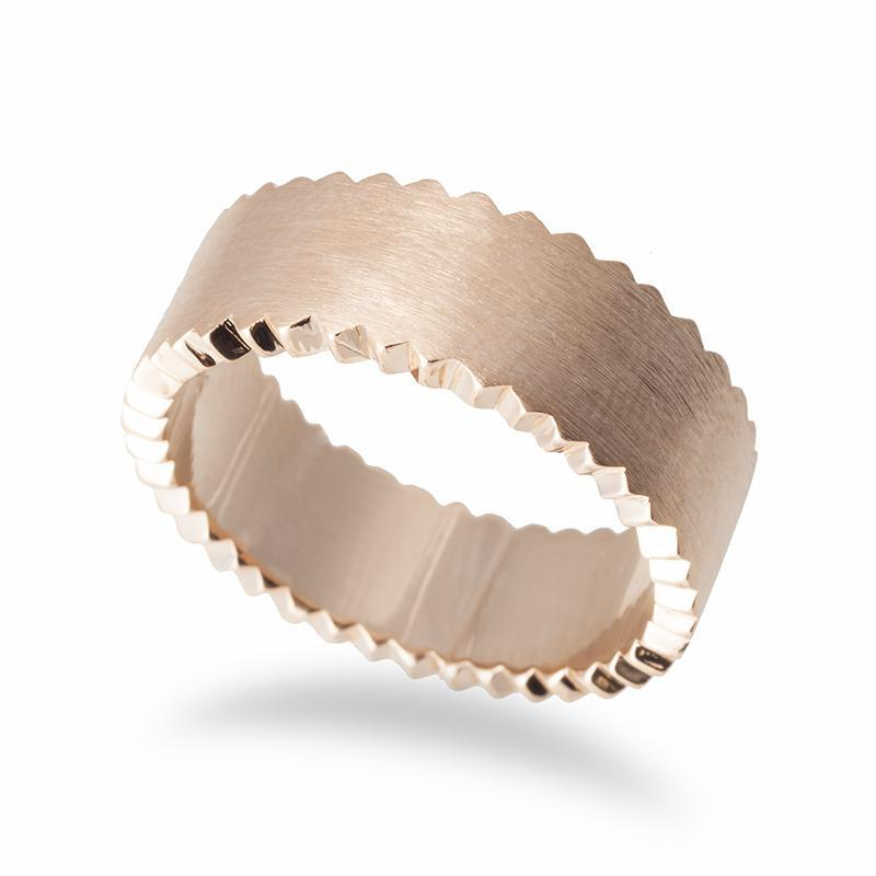 Men's Zig-Zag Edge Wedding Band