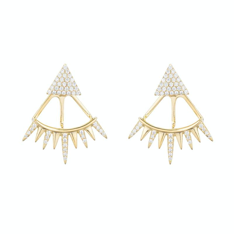 Melrose CZ Triangle Spike Earring-Earrings-Ashley Schenkein Jewelry Design