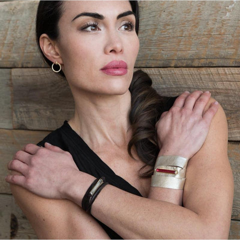Havana Wide Leather Wrap Bracelet
