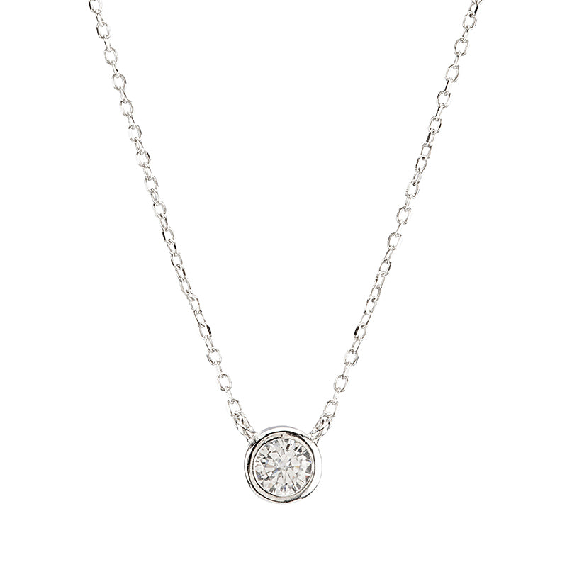Single Bezel CZ Necklace-Necklace-Ashley Schenkein Jewelry Design