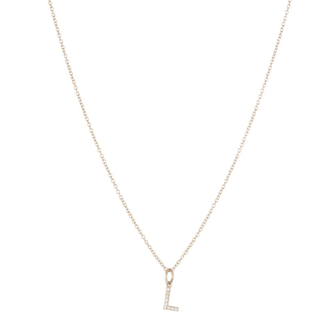 Diamond Pavé Mini Dager Necklace, 14k
