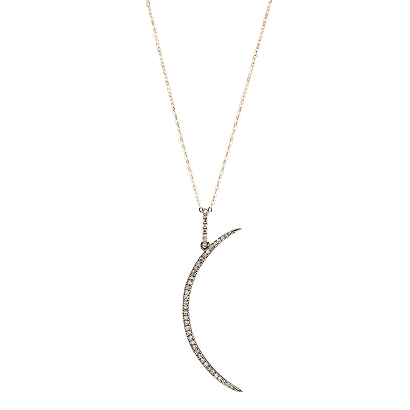 Brooklyn Long Moon Diamond Necklace-Necklace-Ashley Schenkein Jewelry Design