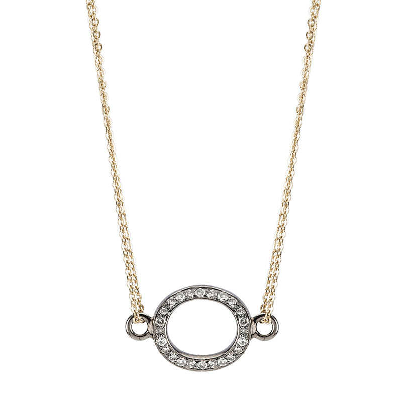 Brooklyn Diamond Open Oval Necklace-Necklace-Ashley Schenkein Jewelry Design