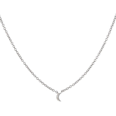 Brooklyn Diamond Pavé Mini Moon Necklace