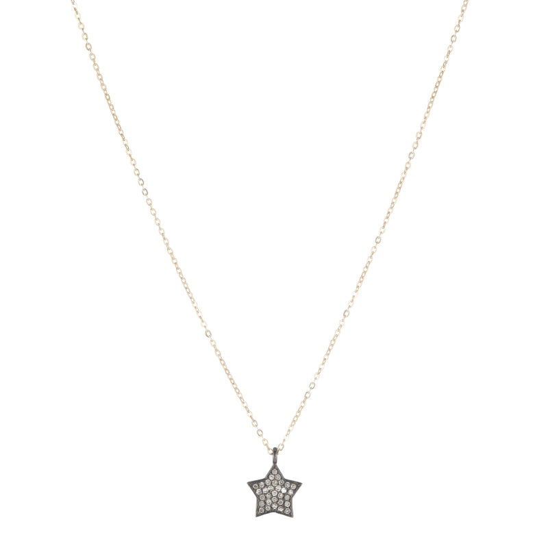 Brooklyn Diamond Pavé Medium Star Necklace-Necklace-Ashley Schenkein Jewelry Design