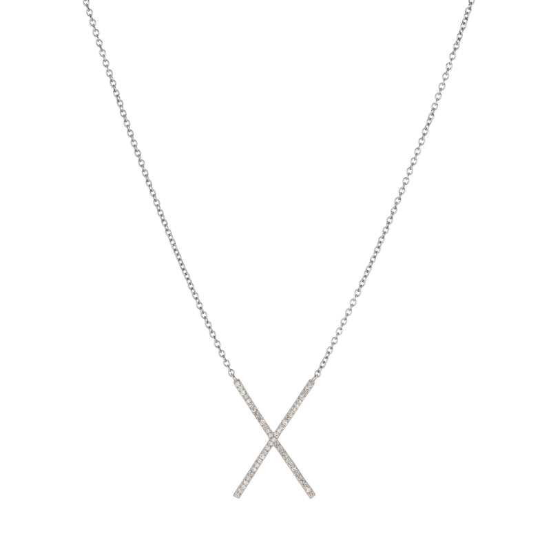 Brooklyn Diamond Pavé X Necklace-Necklace-Ashley Schenkein Jewelry Design