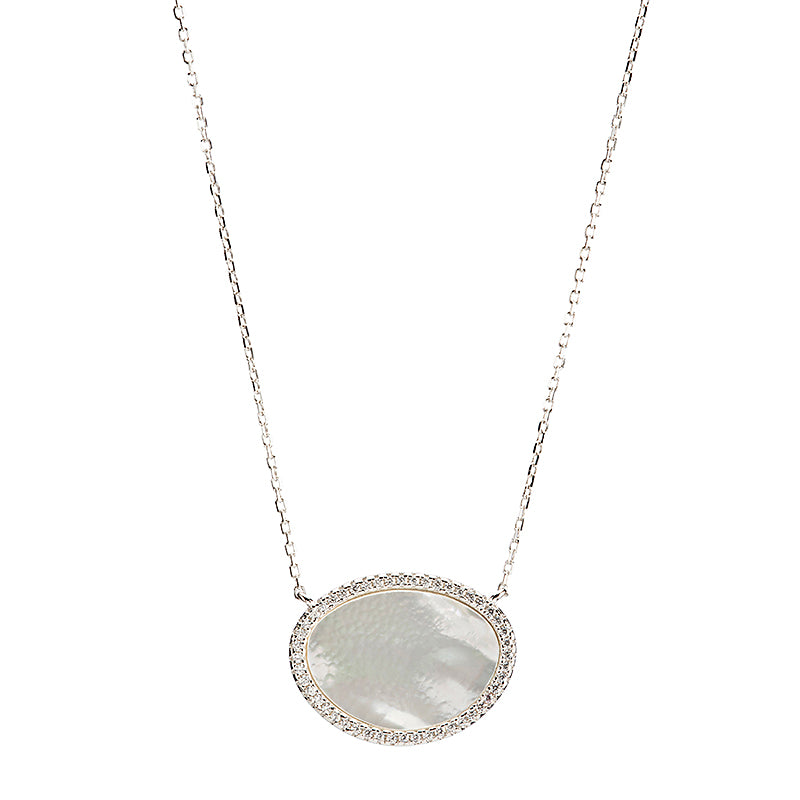 Mother Of Pearl Oval Necklace-Necklace-Ashley Schenkein Jewelry Design