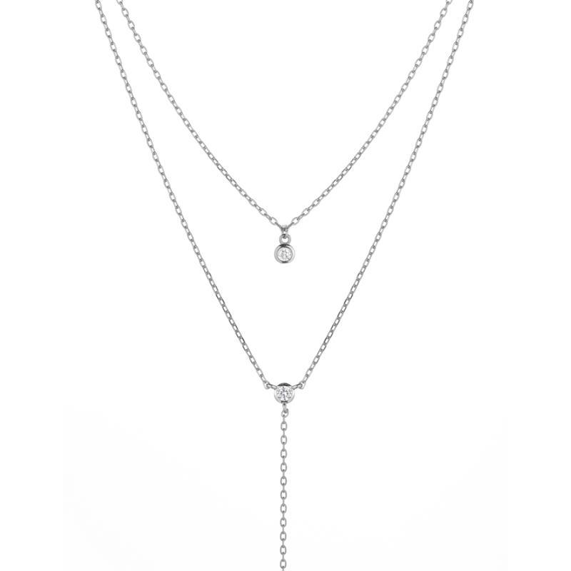 Melrose CZ Double Y Drop Necklace-Necklace-Ashley Schenkein Jewelry Design