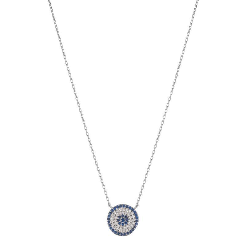 Melrose CZ Pavé Evil Eye Necklace-Necklace-Ashley Schenkein Jewelry Design