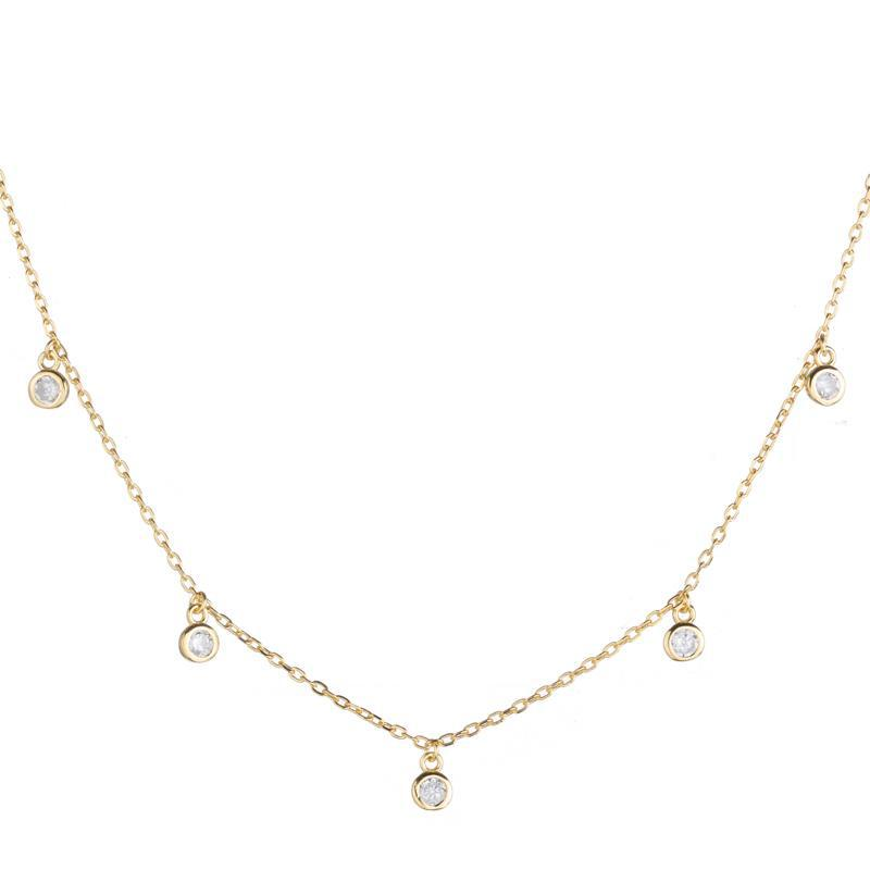 Melrose CZ Round Bezel Drops Necklace-Necklace-Ashley Schenkein Jewelry Design