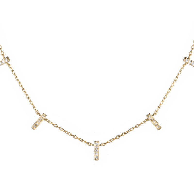 Melrose CZ Pavé Bar Necklace-Necklace-Ashley Schenkein Jewelry Design