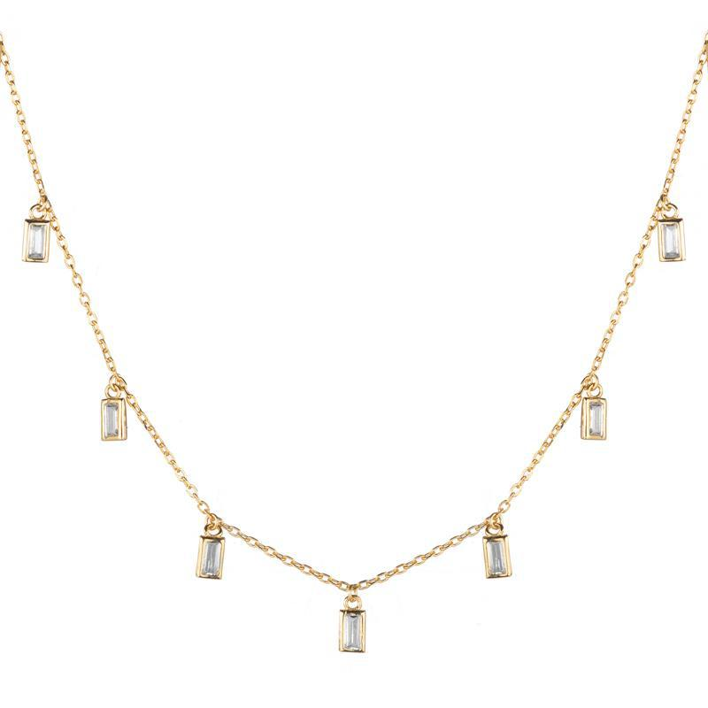 Melrose CZ Baguette 11 Drop Necklace-Necklace-Ashley Schenkein Jewelry Design