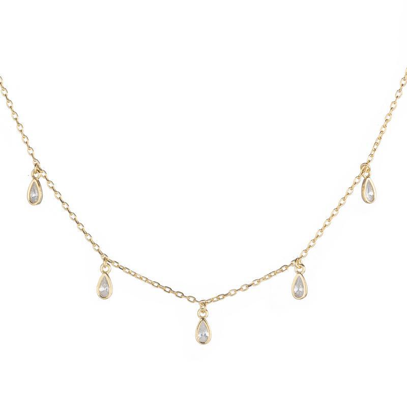 Melrose CZ Teardrop Dangle Necklace-Necklace-Ashley Schenkein Jewelry Design