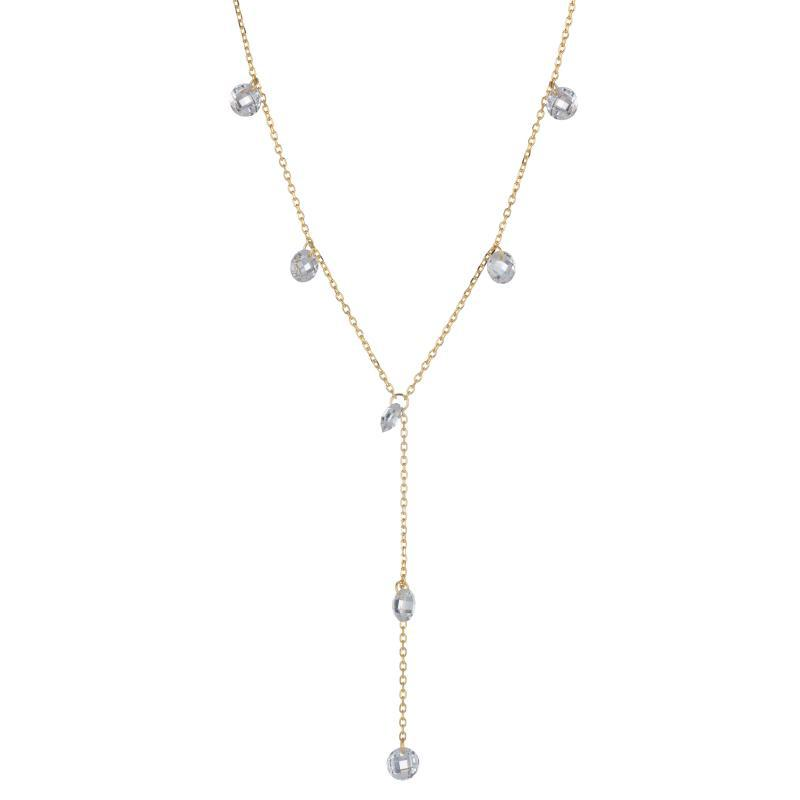 Melrose Floating CZ Y Drop Necklace-Necklace-Ashley Schenkein Jewelry Design