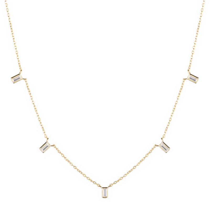 Melrose CZ Baguette 5 Drop Necklace-Necklace-Ashley Schenkein Jewelry Design