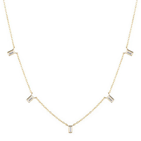 Melrose CZ Baguette 5 Drop Necklace