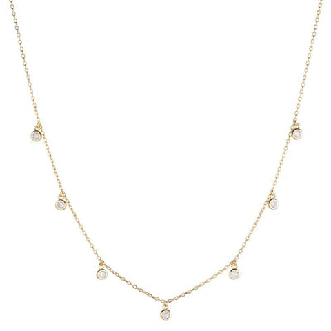 Melrose CZ Round Bezel Drops Necklace