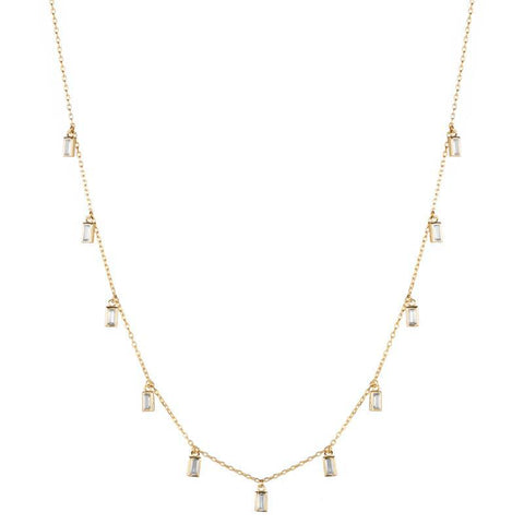 Melrose CZ Baguette 11 Drop Necklace