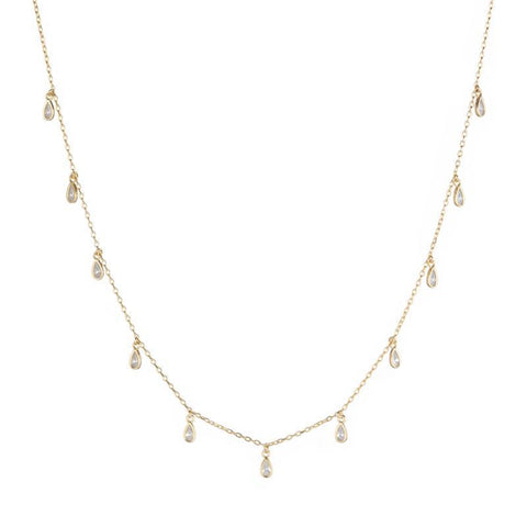 Melrose CZ Teardrop Dangle Necklace
