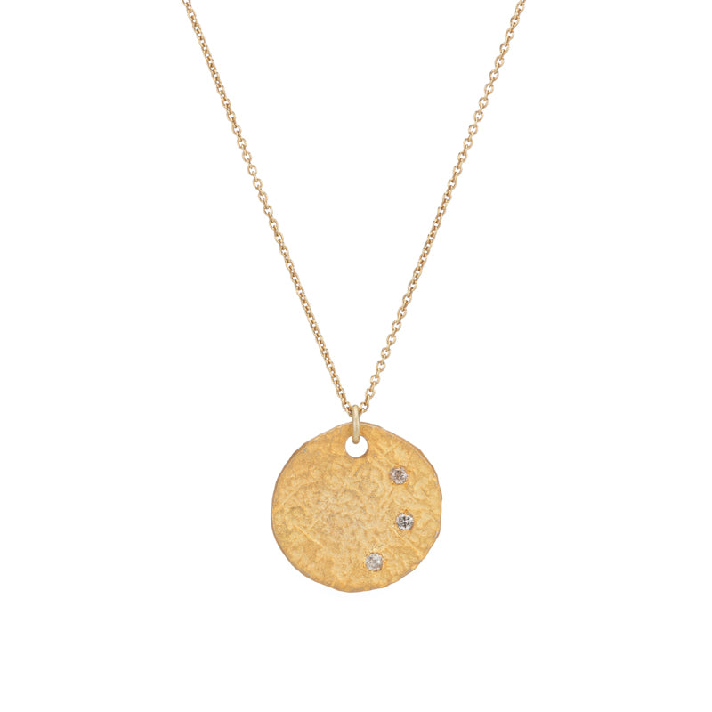 Brooklyn Diamond Hammered Disc Necklace-Necklace-Ashley Schenkein Jewelry Design